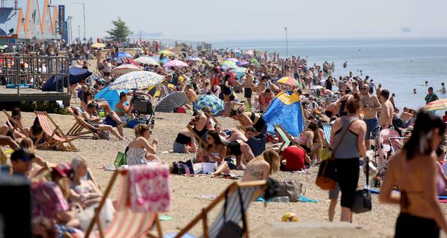 Southend beach was particularly crowded this afternoon. Credit: Solo Syndication