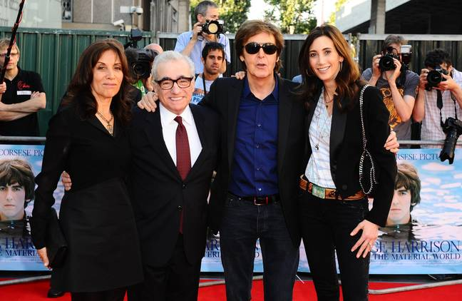 Olivia Harrison, Martin Scorsese, Sir Paul Mccartney and Nancy Shevell at the premiere of George Harrison: Living In The Material World. Credit: PA