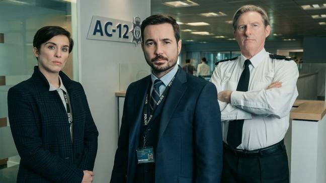 Compston alongside his Line of Duty co-stars. Credit: BBC