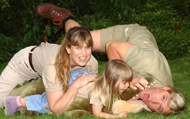 Steve Irwin with wife Terri and daughter Bindi. Credit: PA