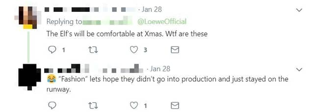 People aren't overly impressed with the footwear. Credit: Twitter