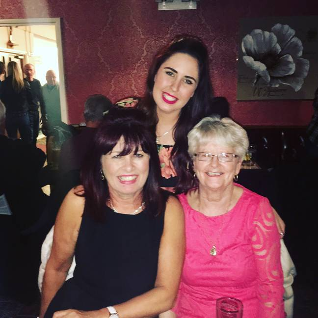 Kayleigh, auntie Julie and nan Alice in pre-Covid times. Credit: LADbible