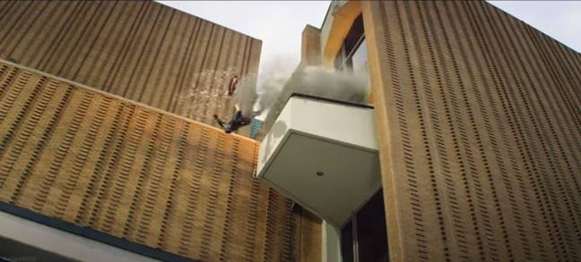 In the clip, Captain America is launched out of a building by the force of an explosion. Credit: Disney/Marvel