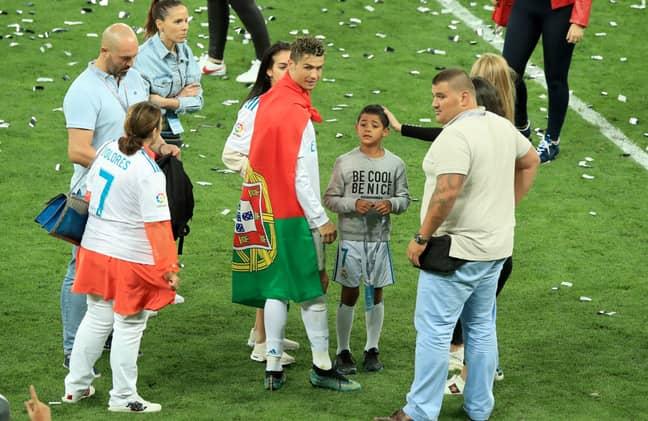 Nuno Marecos and Goncalo Salgado with Ronaldo in Kiev. Credit: PA