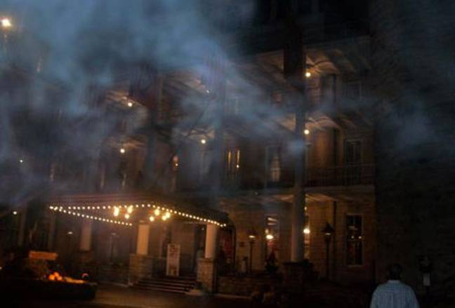 Mist gathers outside the hotel. Credit: Crescent Hotel and Spa Ghost Tours