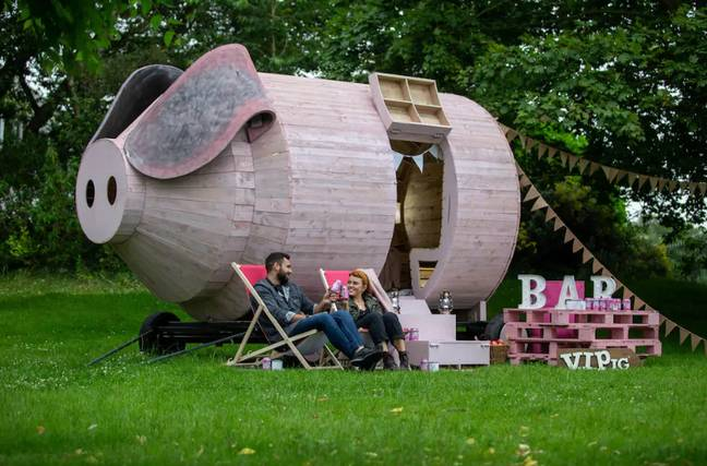 The pig pod can sleep up to 12 people and can be brought directly to you. Credit: Orchard Pig