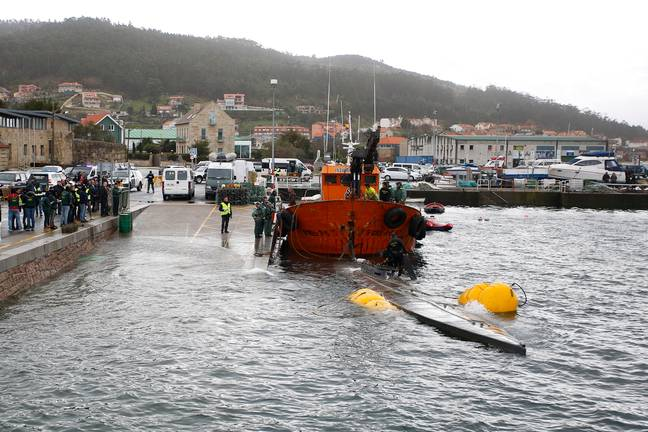 It's the first time a 'narco-submarine' has been caught in European waters. Credit: PA