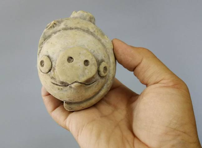 The clay pig has been likened to an Angry Birds character. Credit: Provincial Archaeological Institute