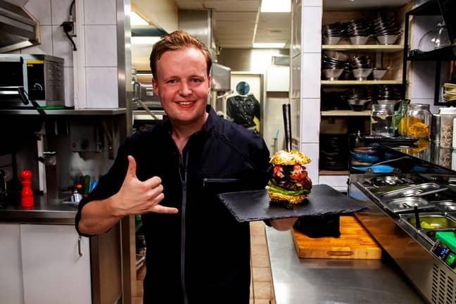 Robbert Jan de Veen with the Golden Boy burger. Credit: De Daltons