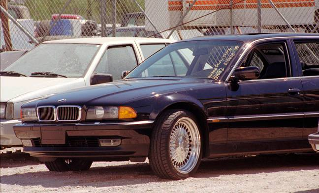 The bullet-riddled car in which Tupac was shot. Credit: PA