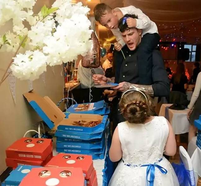 Guests seemed pleased with the alternative wedding spread. Credit: SWNS