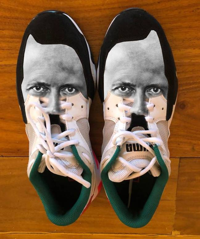 The Nazi leader superimposed over the top of the trainers. Credit: Penn News