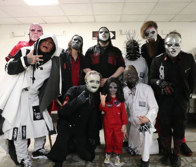 Caleb was invited to meet his heroes after a video of him air-drumming went viral. Credit: Twitter/Jay Weinberg