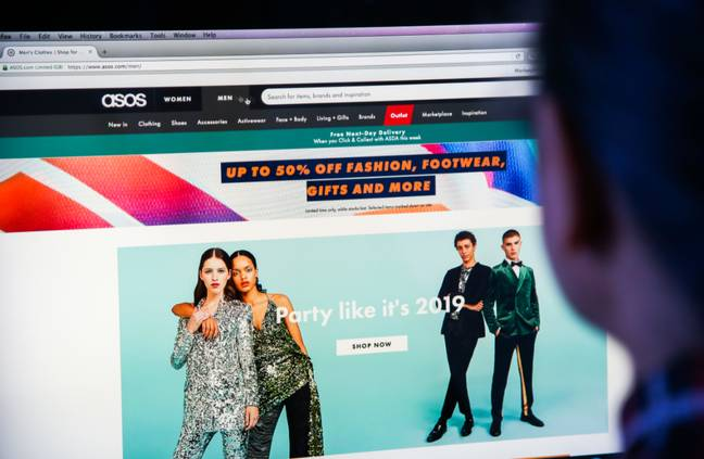 Someone browsing on the Asos website. Credit: PA
