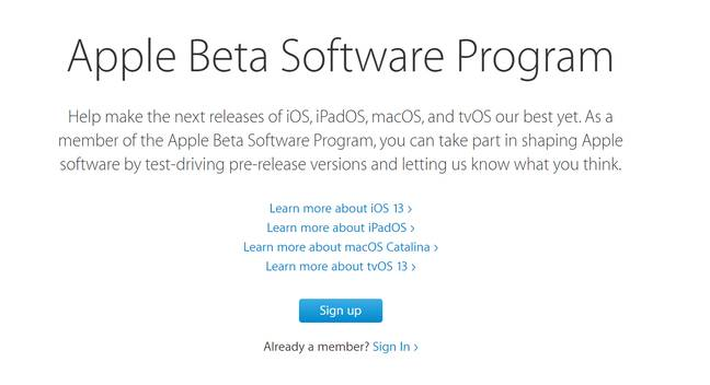 The new update is available as a beta download. Credit: apple.com