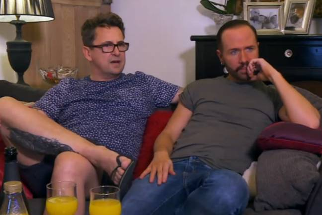 Chris Steede and Stephen Webb on their sofa in Channel 4's Gogglebox