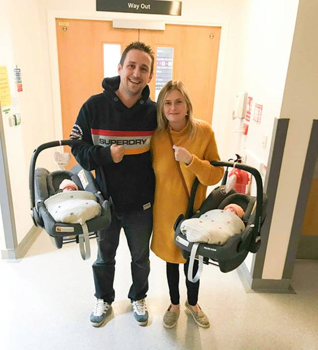 The pair were relieved when they could get the twins home. Credit: Mercury Press