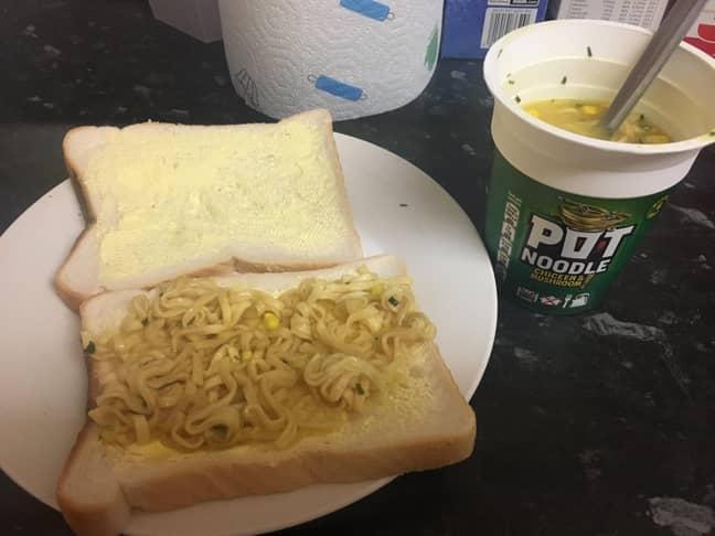 The offending Pot Noodle sandwich. Credit: Reddit