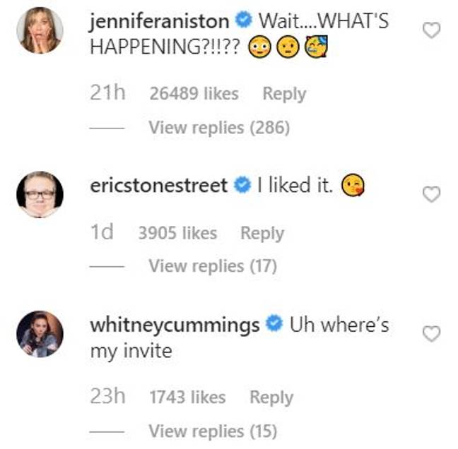 Jennifer Aniston commented on the picture. Credit: Instagram/courteneycoxofficial