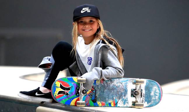 Sky Brown, age 10, during the Skateboard GB Team Announcement at the Graystone Action Academy, Manchester in 2019. (Credit: PA)