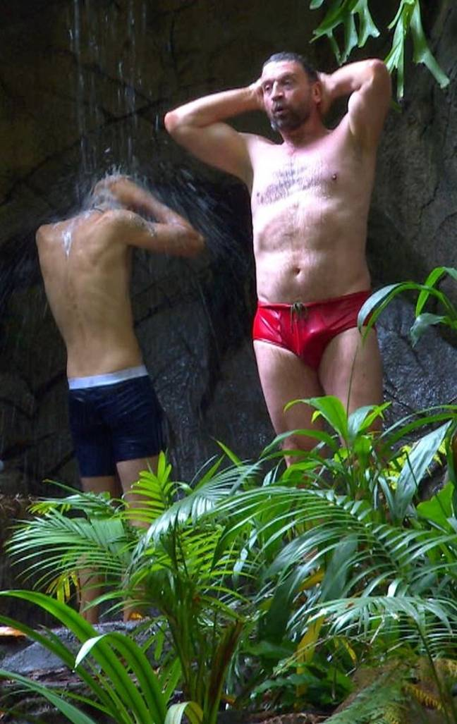 Nick Knowles was spotted with a snake in his trunks while he showered in the I'm A Celeb jungle. Credit: ITV