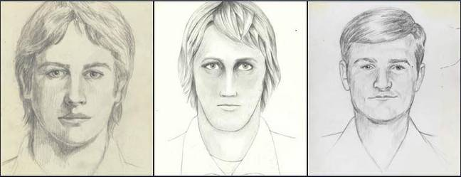 Three sketches on which the FBI focused when it reopened the case in June 2016. Credit: FBI