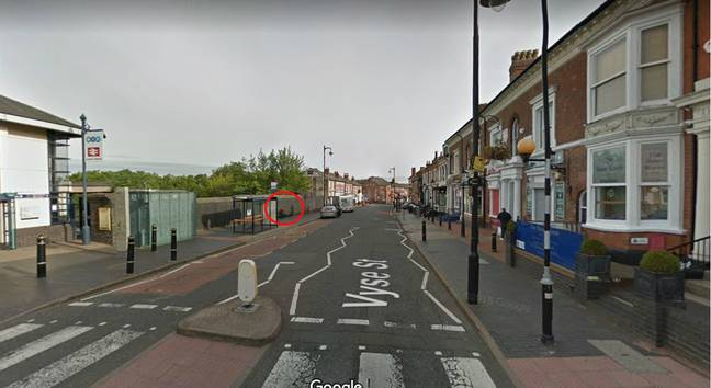 The man captured on CCTV was seen in front of the spot where Banksy's mural later appeared (circled). Credit: Google Maps