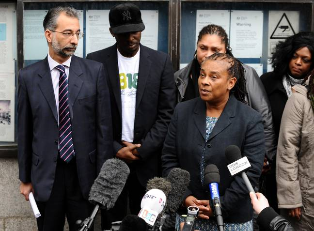 Baroness Doreen Lawrence speaking to the media after Gary Dobson and David Norris were jailed for Stephen's murder. Credit: PA