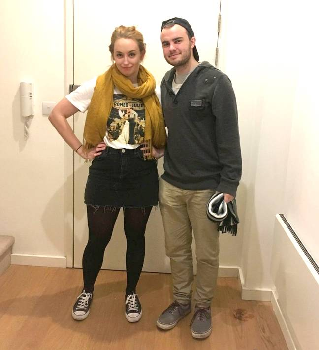 Ben and his girlfriend in the clothes they say they wore out on the night. Credit: SWNS