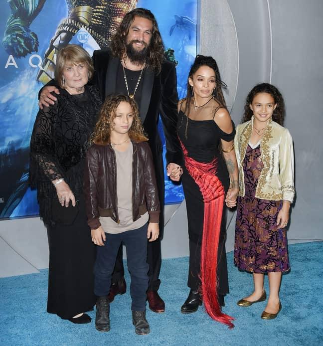 Left to right: Coni Momoa, Nakoa-Wolf Momoa, Jason Momoa, Lisa Bonet and Lola Momoa. Credit: PA