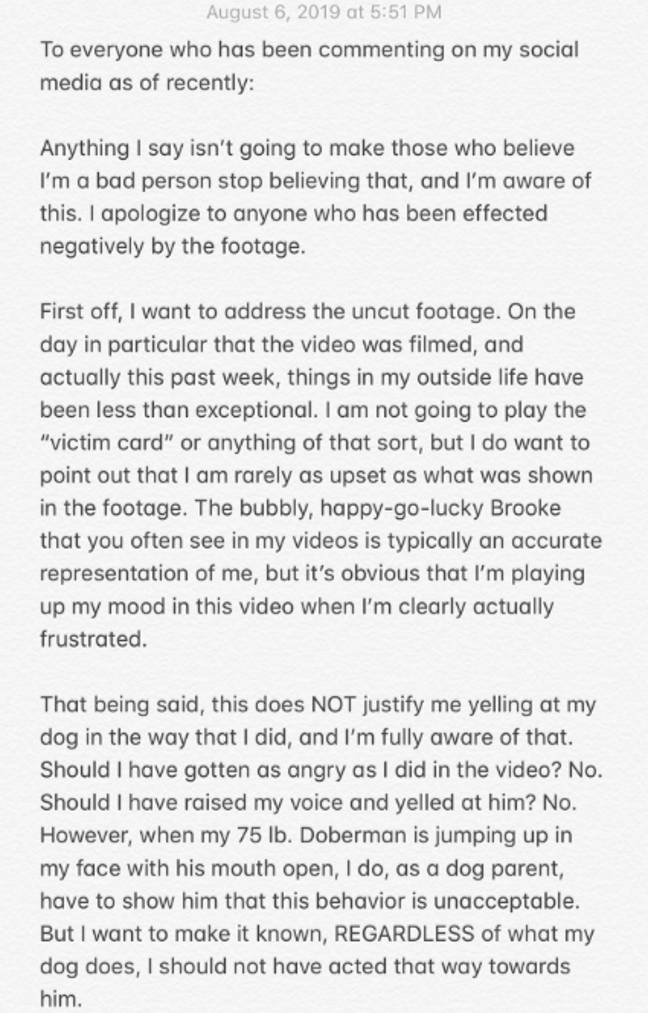 Houts' statement. Credit: Twitter