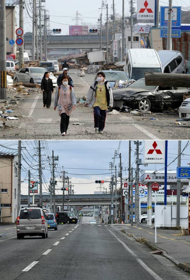 Ofunato, Iwate prefecture pictured ten years apart. Credit: TOSHIFUMI KITAMURA,KAZUHIRO NOGI/AFP via Getty Images