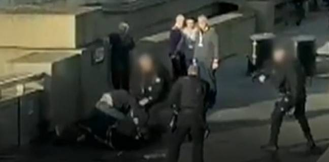 Darryn had to be dragged away by officers before Khan was shot dead. Credit: Twitter