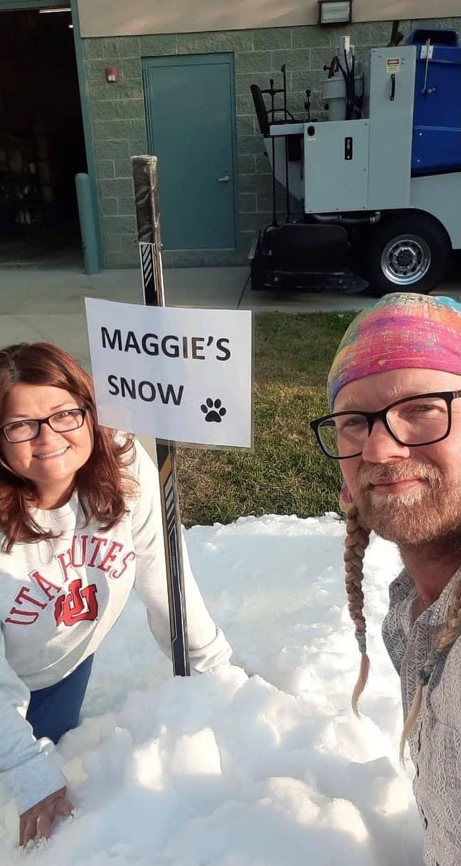 Elijah and Marianna with Maggie's snow. Credit: @slcoparksandrec/Newsflash