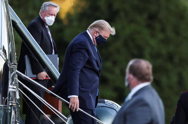 Trump arriving at the Walter Reed National Military Medical Center in Bethesda, Maryland. Credit: PA
