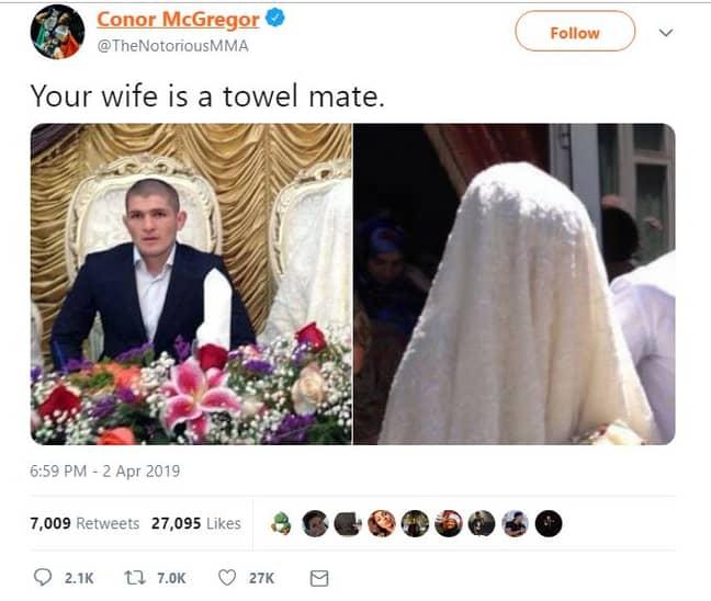 Conor McGregor's now-deleted tweet. Credit: Twitter