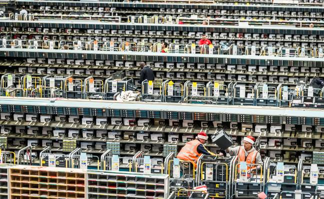 The Royal Mail Leeds Mail Centre last month. Credit: PA