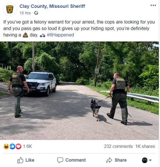 The bizarre story was published on the force's Facebook page. Credit: Clay County Sheriff's Department.