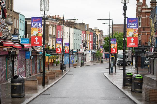 General view of a deserted Camden High Street. Credit: PA