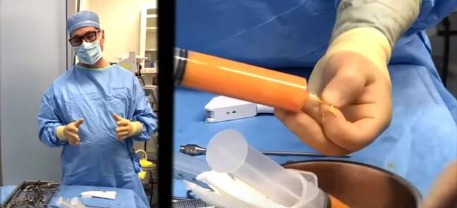 Dr Calvert during the operation. Credit: YouTube/Mia K