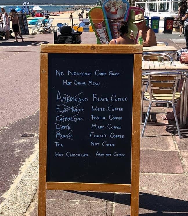 This hot drinks menu has sparked debate online. Credit: Reddit/Av2LeaveAspace
