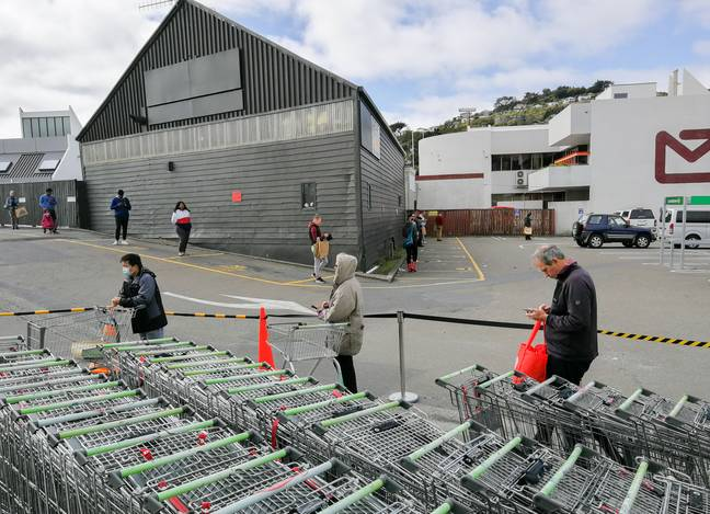 People social distancing in Wellington.