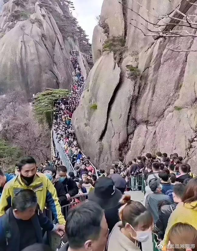 Huangshan National Park waived its £21 fee for Anhui residents, leading to massive queues. Credit: AsiaWire