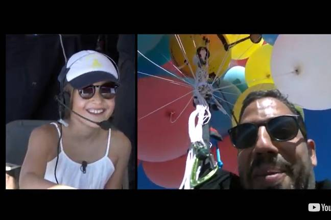 Blaine spoke to his daughter while he floated thousands of feet above. Credit: YouTube/David Blaine