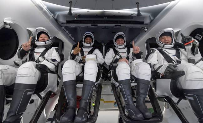 Shannon Walker, left, Victor Glover, Mike Hopkins, and Japan Aerospace Exploration Agency (JAXA) astronaut Soichi Noguchi. Credit: PA