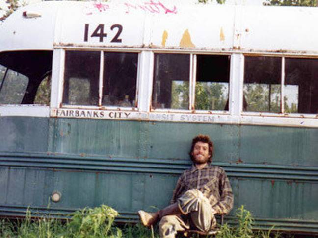 Christopher McCandless with the 'magic bus'. Credit: Christopher McCandless
