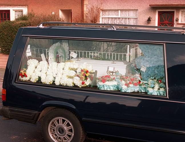 James Bulger's funeral procession. Credit: PA