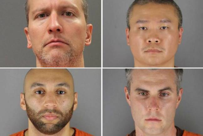 Clockwise from top left: Derek Chauvin, Tou Thao, Thomas Lane and J. Alexander Kueng. Credit: U.S. Minnesota Department of Corrections/Hennepin County Sheriff's Office