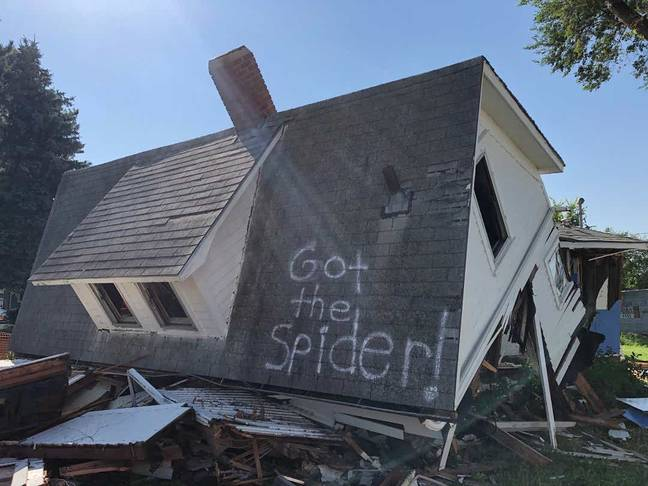 The couple spray-painted 'Got the Spider!' on the roof. Credit: Facebook