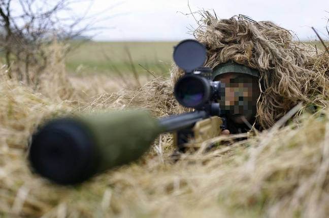 British soldier practising at the Land Warfare Centre at Warminster, Wiltshire. Credit: PA